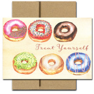"""Boxed Business Birthday Card - Donuts features six frosted donuts and the text, """"Treat Yourself"""""""