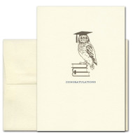 """Cover of Graduation Congratulations Card- """"Ready to Fly"""" with image of owl wearing a graduation cap perched on books, with the word """"Congratulations"""""""