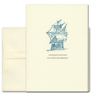 """Congratulations on Your Retirement card with the words """"Congratulations on Your Retirement"""" in classic typeface under a vintage illustration of brigantine sailing ship"""