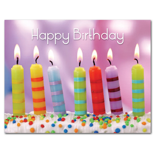 Boxed Birthday Postcards For Business and School Use Striped Candles – Happy Birthday Post Cards