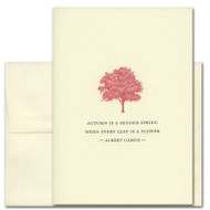 Albert Camus Quotation Card for Fall.  The cover has an illustration of a tree in scarlet, above the words: Autumn is a second spring when every leaf is a flower.