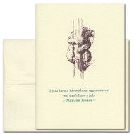 "Quotation Card ""Aggravations: Forbes"" Cover shows old fashioned illustration of a bear climbing a tree with a quote by Malcolm Forbes: ""If you have a job without aggravations, you don't have a job."""