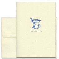 """Get Well Card- Old Fashioned illustration of a mortar and pestle with the words """"Get Well Soon"""""""