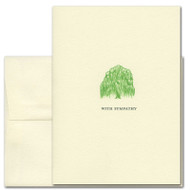 "Sympathy Card - Willow Tree has an illustration of a green willow tree above the words ""With Sympathy"""