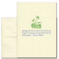 Gustav Mahler Quotation Card on  Spring.  Cover has an illustration of a plant in green that is just starting to grow above the words in blue: Spring won't let me stay in the house any longer! I must go out and breathe the air deeply again.