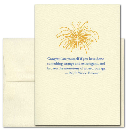 Quotation Card U201cCongratulate Yourself: Emersonu201d Cover Shows Gold Vintage  Style Fireworks Drawing With