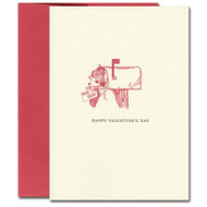 """Valentine Card  Mailbox has illustration of a mailbox on a post with envelopes overflowing out with the words """"Happy Valentines Day"""""""