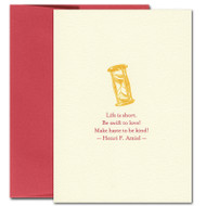 """Picture of Valentine Card """"Make Haste"""" with an illustration of an hourglass and a quotation by Henri F Amiel"""