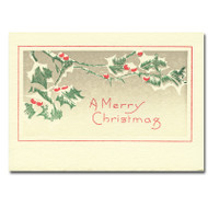 """Letterpress Holiday Card - Snow Berries cover shows green holly leaves with red berries and the greeting """"A Merry Christmas"""""""
