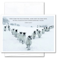 """Business New Year Card - Sleet or Snow: Cover photo shows a group of sheep standing in a """"V"""" in a snow covered field with the Simon Dach quotation """"The come the wild weather, come sleet or come snow, we will stand by each other however it blow"""""""