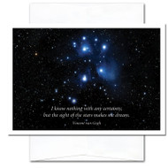 "Business  New Year Card: Sight of Stars cover photo of The Pleaides (Seven Sisters) constellation in the winter sky of the Northern Hemisphere and the Van Gogh quotation ""I know nothing of any certainty, but the sight of stars make me dream"""