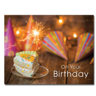 """Party Hats Birthday Postcard shows a slice of cake, sparkling lights, party hats and the wording """"On Your Birthday"""""""