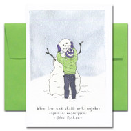 Masterpiece Holiday Card with watercolor illustration of child building a snowman and quote: When love and skill work together expect a masterpiece - John Ruskin