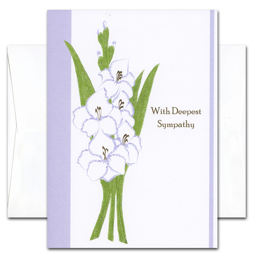Boxed sympathy card deepest sympathy sympathy card deepest cover has an illustration of gladiola and the words with deepest altavistaventures Choice Image