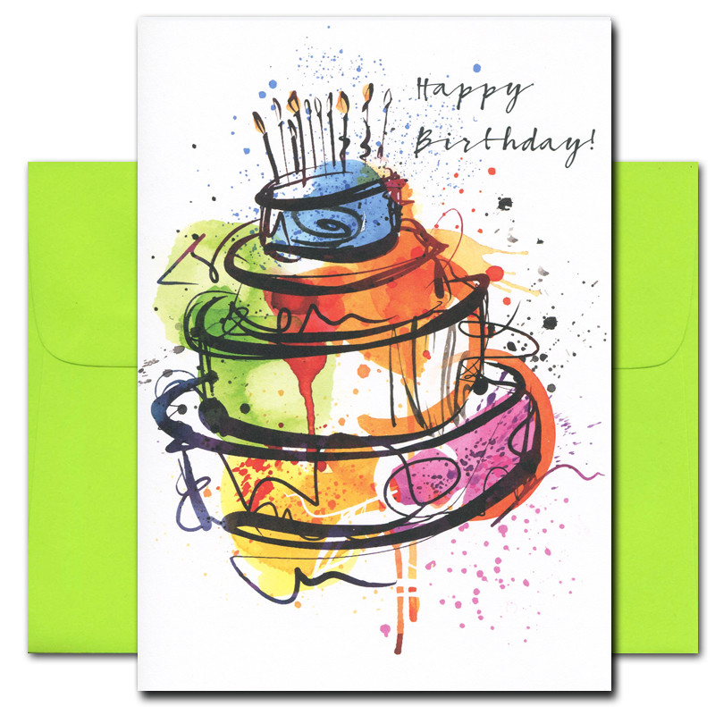 Boxed Business Birthday Cards Big Cake