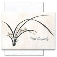 "Sympathy card - Wild Orchid cover with a contemporary illustration of a blooming wild orchid plant and the words ""With sympathy"""