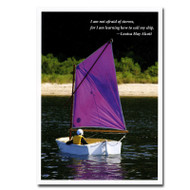 "Boxed Business Birthday  Quotation Card-Sail My Ship cover  is a picture of a person sailing a small sailboat with the Louisa May Alcott Quotation ""I am not afraid of storms for I am learning how to sail my ship."""