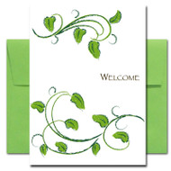 "Welcome Card - Leafy cover has a chalk sketch of leafy green branches and the word ""Welcome"""