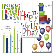 "Boxed Business Birthday Note Card Assortment 50 note cards covers of each of the 5 note cards in the business birthday note card assortment, each with the words ""Happy birthday"" in bright letters with different illustration"