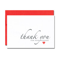 Business Appreciation Valentine Note Card cover has the words thank you for your business in script