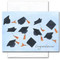"""Graduation Congratulations Card - Airborne cover has illustrations of mortarboard caps flying in the air with the word """"congratulations!"""" in the lower right hand corner"""