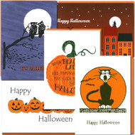 Halloween Card Assortment: Five different cards featuring, cats, pumpkins, witches and a full moon
