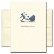 Thanksgiving Card - Turkey Time. Cover shows silhouette of turkey chasing a youngster and the words Happy Thanksgiving
