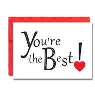 Business Valentine Note Card cover has the words You're the Best with a red heart accent