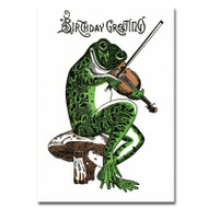 Cover of Saturn Press letterpress birthday card. Drawing of green frog sitting on a toadstool and playing the fiddle.