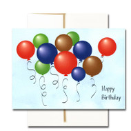 """Boxed Business Birthday Note Card - Balloon Bunch Cover with the words """"Happy Birthday"""" and multi-colored balloons against a blue sky background"""