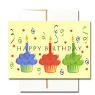 """Boxed Business Birthday Note Card - Cupcake Trio Cover has colorful cupcakes, streamers and the words """"Happy Birthday"""""""
