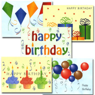 "Boxed Business Happy Birthday Note Card Assortment Covers of each of the 5 note cards in the business birthday note card assortment, each with the words ""Happy Birthday"" and a different illustration"