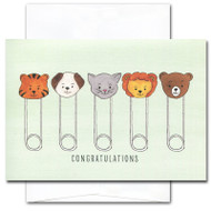 """Baby congratulations card has a line up of diaper pins with baby animal faces and the word """"Congratulations"""""""