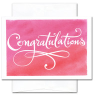 Congratulations Card - Flourishes. Hand-lettering with flourishes on watercolor background