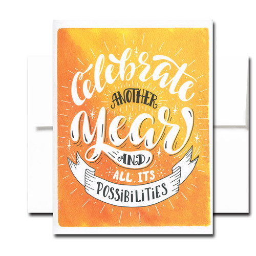"""Boxed Birthday Card - Another Year has a hand-lettered design and the words """"Celebrate Another Year and All Its Possibilities"""""""