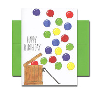 "Boxed Birthday Card -Opening Day has hand-drawn illustration and the hand-lettered words ""Happy Birthday"""