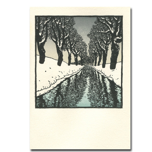 Snow Stream Letterpress Holiday Card shows winter trees reflected in a stream on a snowy day