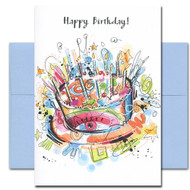 Here's to You Birthday Card cover shows a bright abstract cake with starry candles and the words Happy Birthday