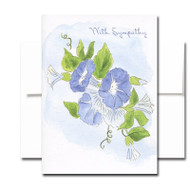 Sympathy Note Card - Violets. Cover has an illustration of morning glories and the words With Sympathy