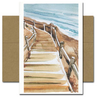 All Occasion Card: Beach Walkway features a watercolor illustration of a wooden walkway leading to a beach