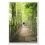 "Boxed Business Christopher Morley Quotation Birthday Card -One Success. Cover with photo of people walking in forest and the quotation ""There is only one success- to be able to spend your life in your own way"""