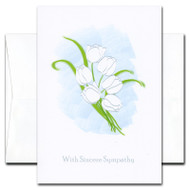 "Sympathy Card - Sincere Sympathy cover has an illustration of white tulips and the words ""With Sincere Sympathy"""