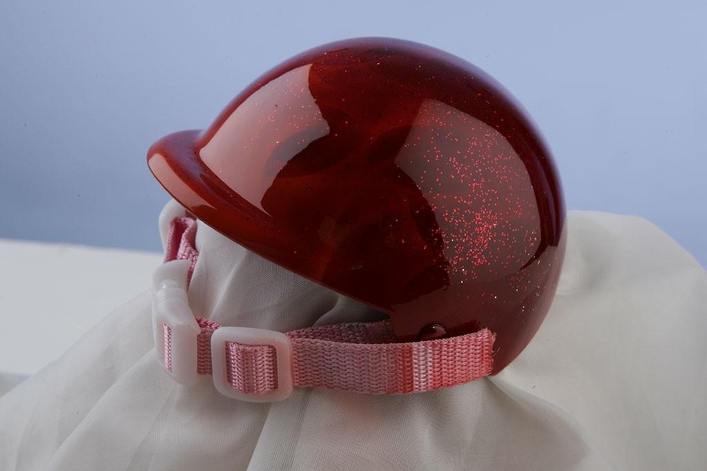 Airbrushed Pink Glitter Flames Dog Helmet