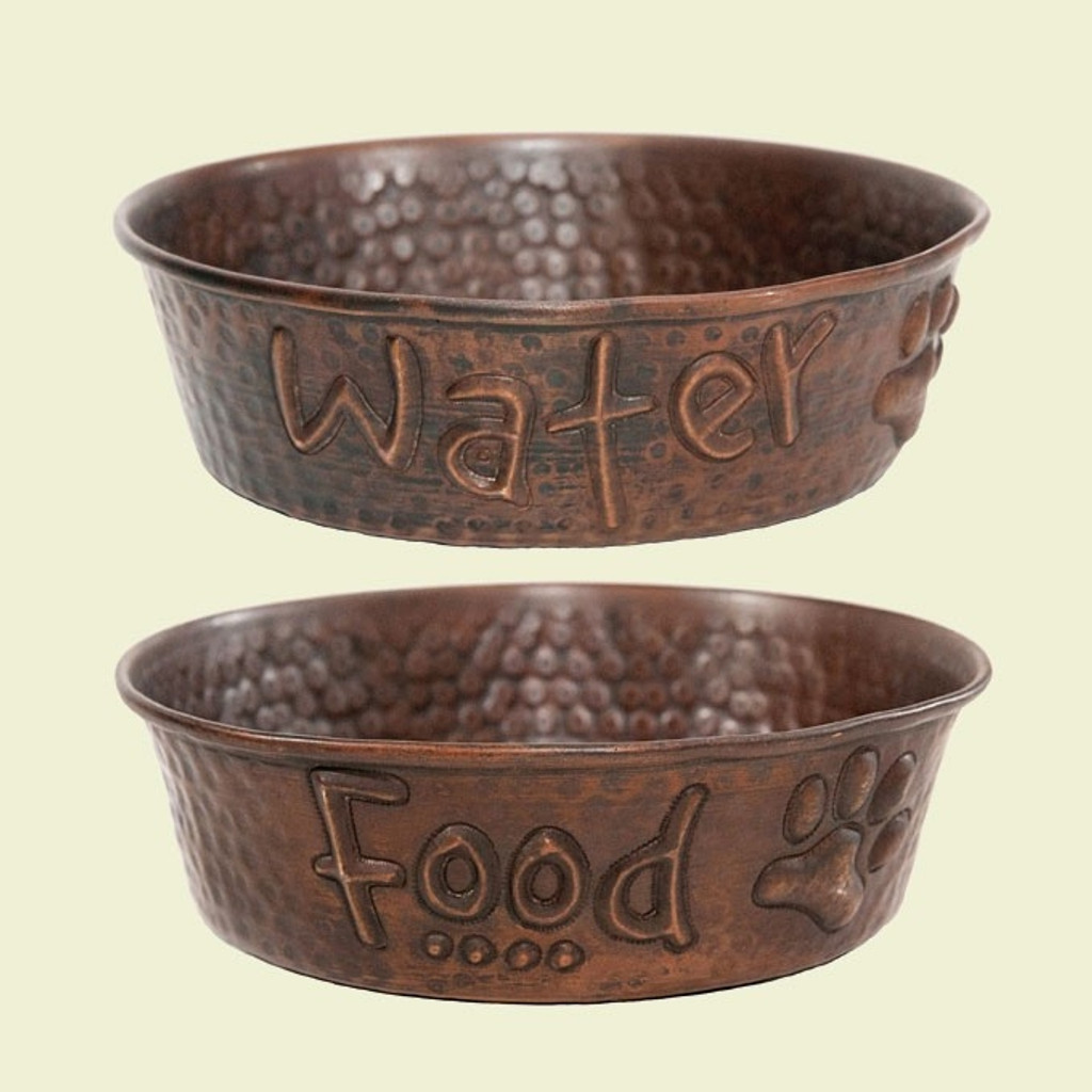 food and water copper dog bowls set of 2