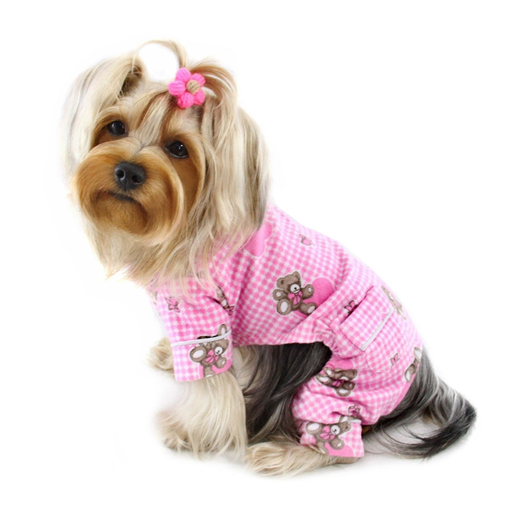 Pink Flannel Teddy Bear Dog Pajamas