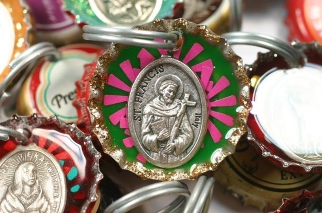 Saint Francis Bottle Cap Dog Collar Charm