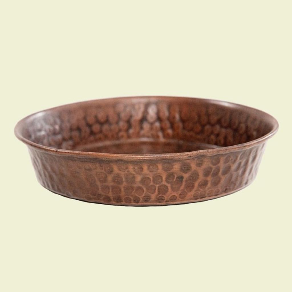 Shallow Hammered Copper Dog Bowl