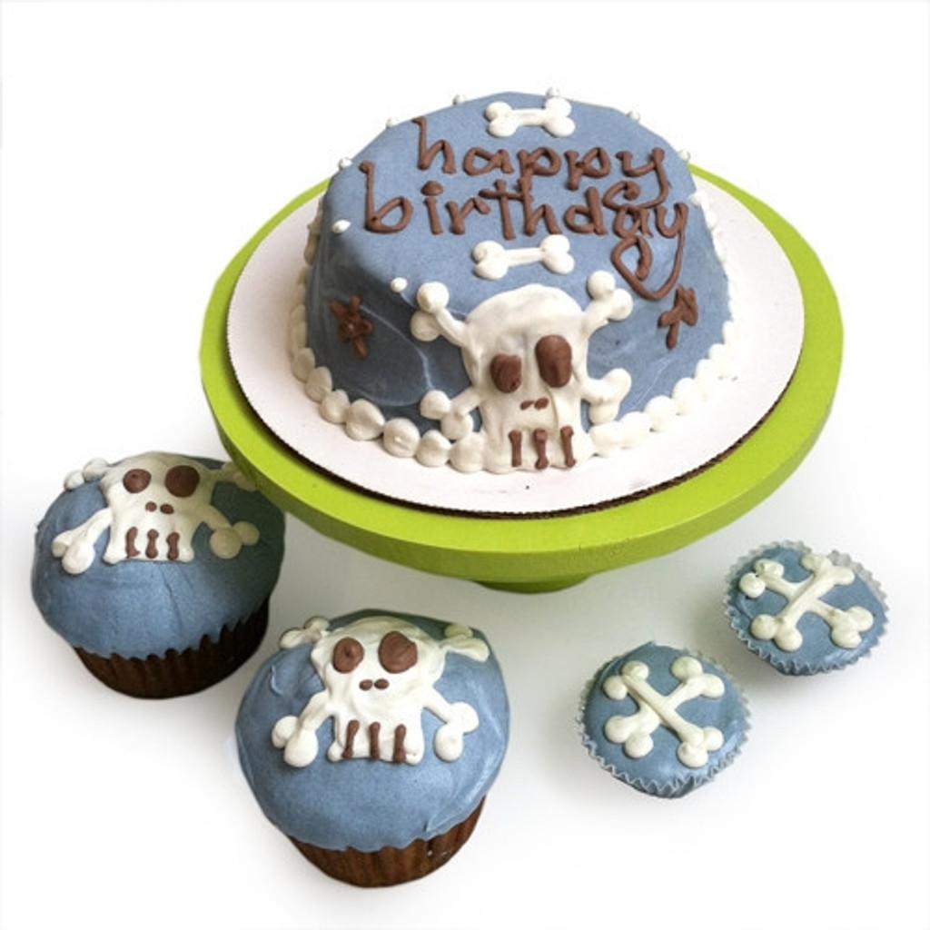 Blue Punk Rock Skull Dog Birthday Cake