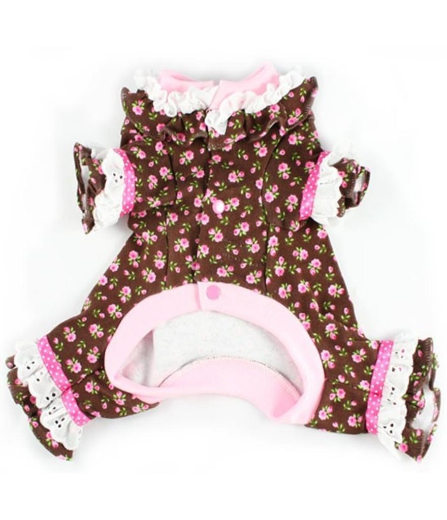 Lacey Cotton Pink Roses Dog Pajamas 1
