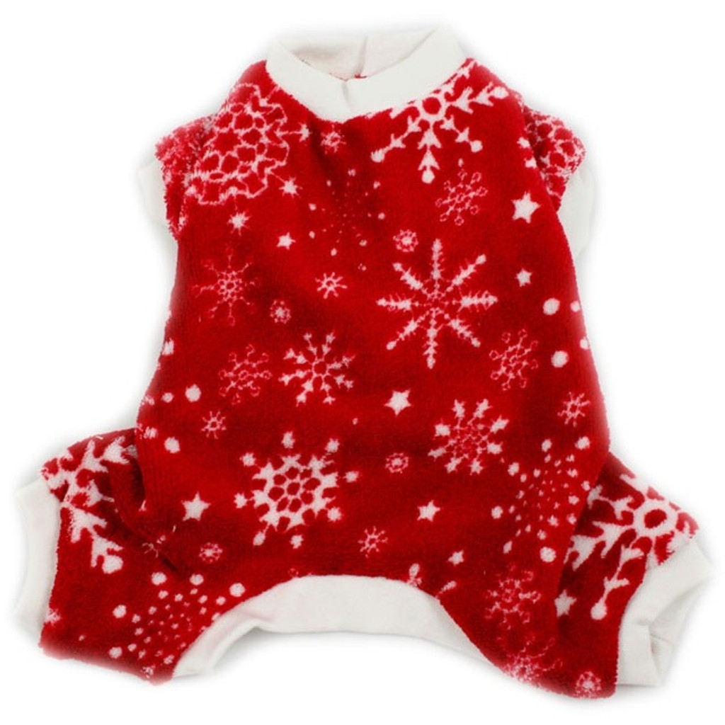 Fleece Snowflakes Dog Pajamas